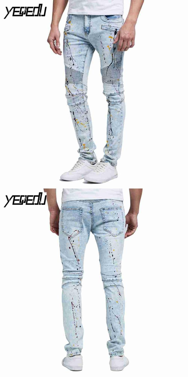 #2103 2017 Biker jeans Mens stretch denim jeans Punk Skinny Moto jeans homme Hip hop jeans hombre Pantalon homme Pleated Fashion