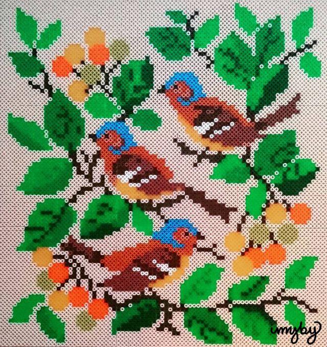 farmors fåglar - birds, hama beads, photopearls, perler beads, pärlplattor, IMYBY