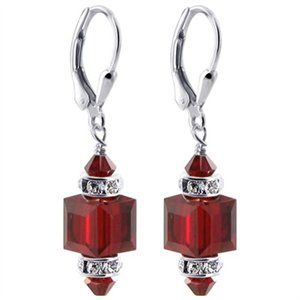 Made with 8mm Multifaceted Garnet Crystal Cube with 4mm Crystal Bicone and Rhinestone Rondell Beads on top and Bottom