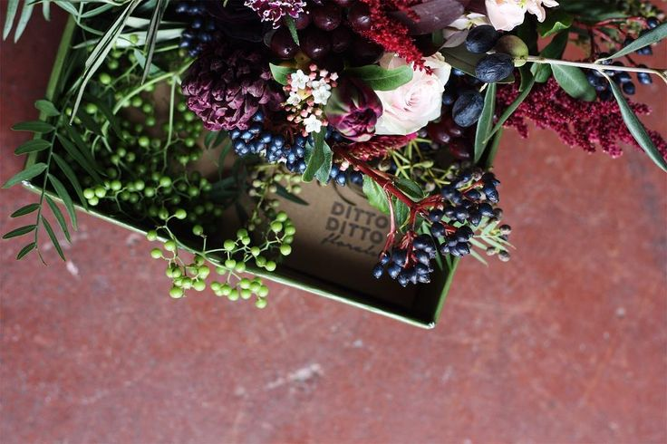 Bridesmaid arrangement - moody, berries, amaranthus, hyacinth @dittodittoflorals