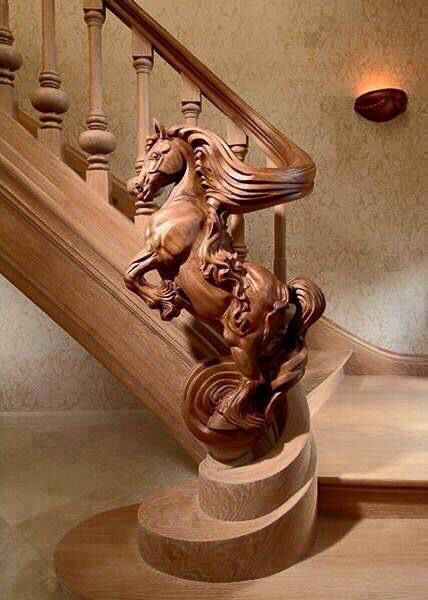 Bannister with Carved Horse out of the wood