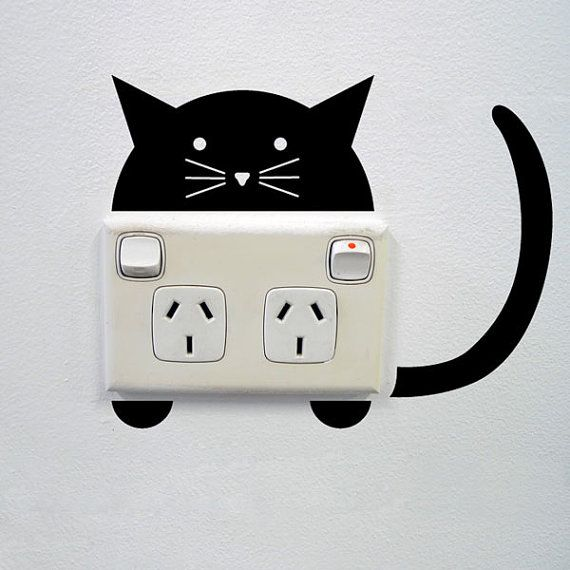 Cat Wall Sticker for Power points and light switches by vinylwalldesign, based in Sydney, Australia, and selling on Etsy