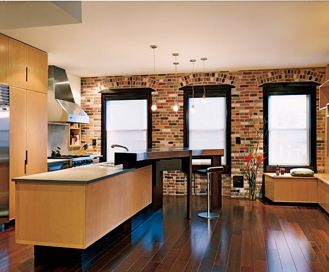 Urban Kitchen With Exposed Brick Wall