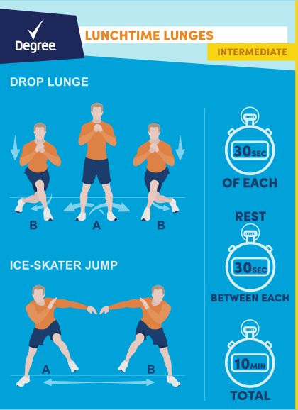 Pledge to get moving - get in a midday workout with these exercises from Degree and Walmart