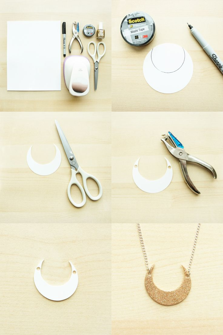 diy shrink plastic moon necklace via the pink samurai