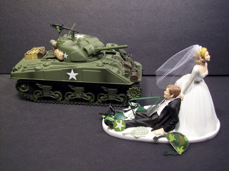 ARMY Bride And Groom With Military Tank WEDDING CAKE Topper Funny Grooms  Cake. $79.99,