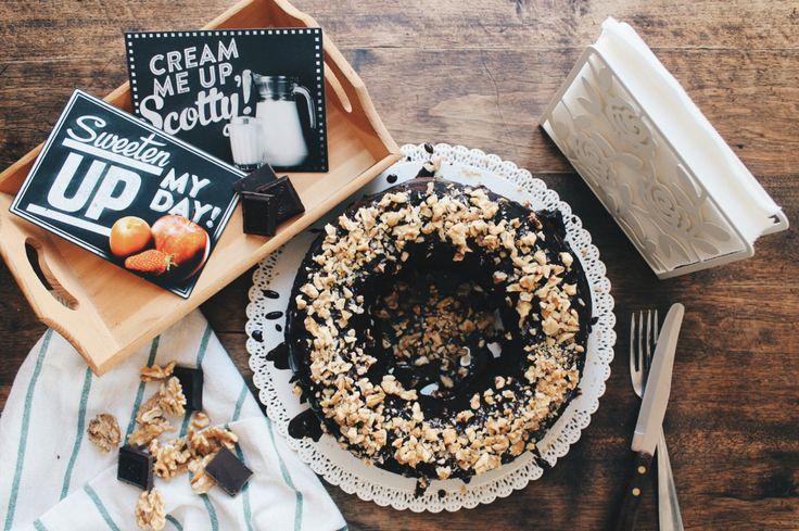 Chocolate cake with dark chocolate glaze and walnuts!