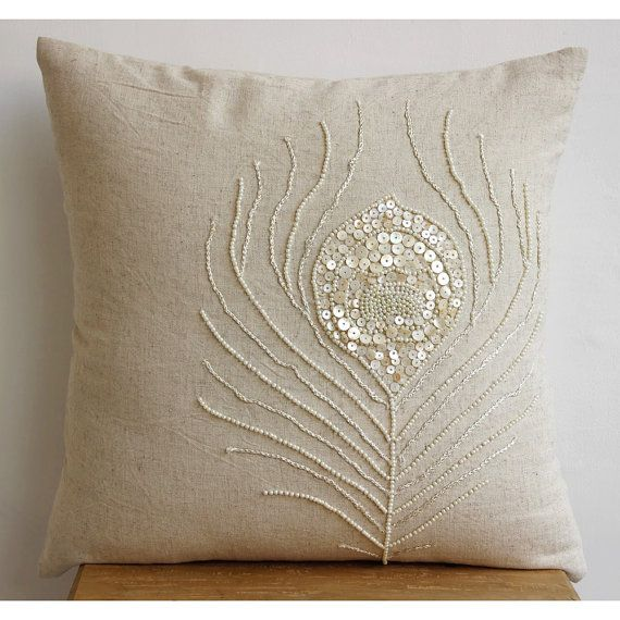 Decorative Throw Pillow Covers Accent Couch Toss Sofa Pillows 18 x 18 Linen Mother Of Pearl Embroidered Pillow Case Pearly Peacock Feather