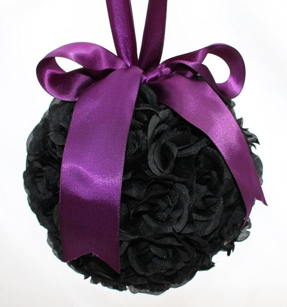 SALE Black and Purple Rose Pomander by BizouBizou on Etsy, $25.00