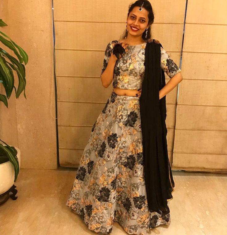 Shreya looking gorgeous in her custom made lehenga. . . . #prettylook #designer #couture  #clothing  #apparel  #happiness #embroidery  #floral #fashion #bridal #wedding #gown #lehenga #skirt #black #green #gold  #details #tassels #ethnic #indianfashion #fashionista #ootd  #brocade #silk #glamour  #shaadi #festivalfashion