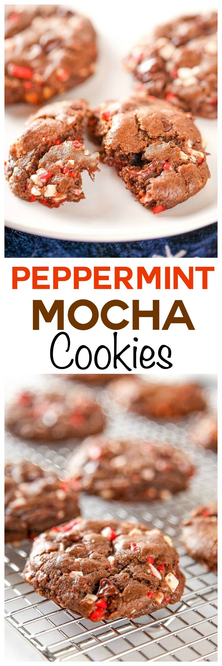 Peppermint Mocha Cookies: Soft and chewy chocolate cookies bursting with rich chocolate chips and cool peppermint crunchies. Your favorite coffee house beverage in cookie form!: