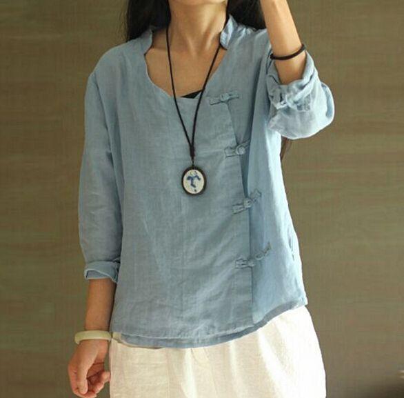 Barato V de manga comprida side handmade chinês botões doces camisa roupas blusa mulheres, Compro Qualidade Blusas diretamente de fornecedores da China:    Tamanho (cm)        Ombro: 37 manga: 54 busto: 94 comprimento: 59