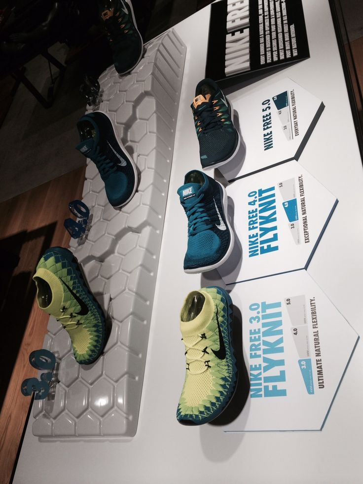 Nike Free 3.0 Flyknit retail table display sports shoe display.