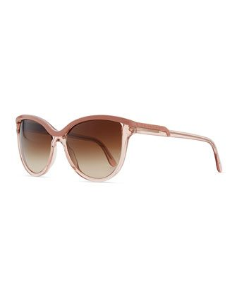 Semi-Round Clear/Opaque Sunglasses by Stella McCartney at Neiman Marcus.