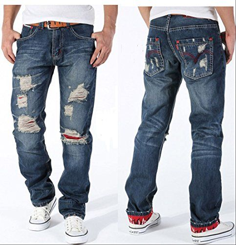 NEW 2014 Mens Torn Jeans Vintage Distressed Ripped Holey Patches Slim Cut (38) BT-PLAY http://www.amazon.com/dp/B00Q2DL22E/ref=cm_sw_r_pi_dp_bur.ub1HGQDA9