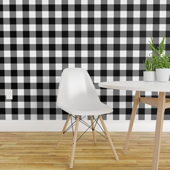 Checked Wallpaper Buffalo Plaid With Twill Pattern By Etsy Quick Decor Removable Wallpaper Custom Wall Stickers