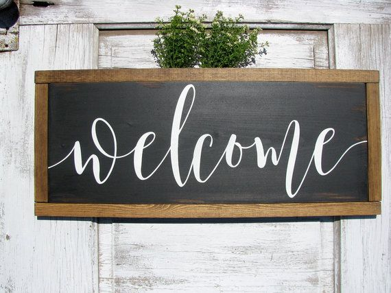 Welcome Farmhouse Welcome Sign Rustic Sign Long Wood Etsy Rustic Signs Welcome Font Welcome Sign