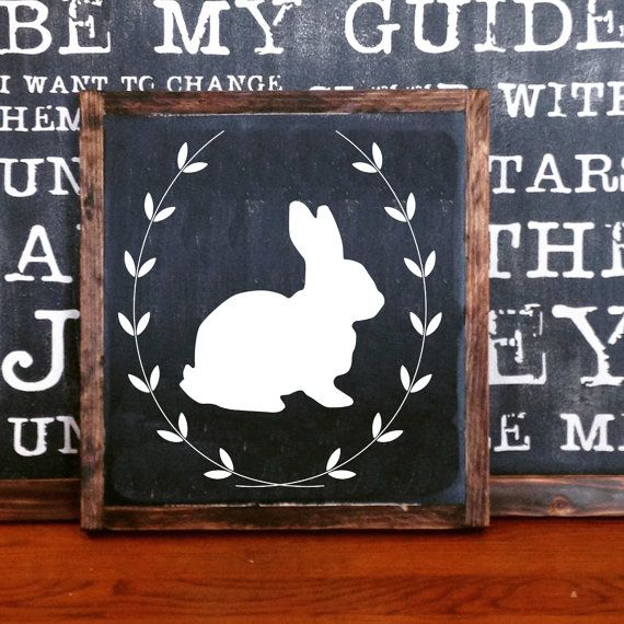Simple Easter Bunny Spring Sign With Wreath FRAMED Hand Painted Rustic Wood Distressed Black Wall