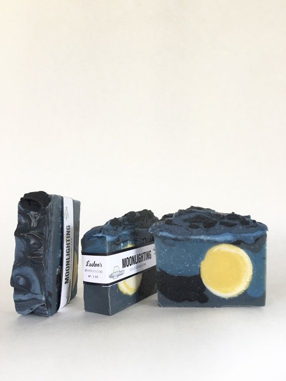 Moonlighting Soap // This soap is like a midnight sky lit up with a bright full moon! It smells like sweet pine needles, strawberry, orange + vanilla.