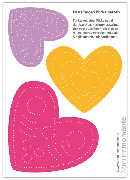 Awesome Herzen Mobile Zum Prickeln   Pink/Orange/Lila   Bastelbogen Zum Prickeln