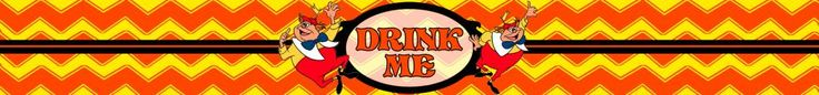 Drink Me Bottle label - Tweedle Style with Tweedledum & Tweedledee - Alice in Wonderland - Disney-inspired Party Printable ~~~~~~~~~ Size: (2550x300px). This label is designed to be printed at 8.5 x 1 inches. Simply print out and stick around your drink bottle for instant Wonderland fun! Clipart belongs to Disney. Chevrons from www.clker.com . Font is Storybook www.dafont.com/storybook.font This label is **Personal use only - NOT for sale/resale/profit**