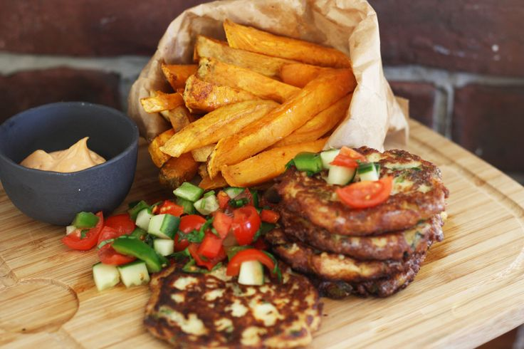 Fish & Chips with a twist: Cheesy Fishcakes with Sweet Potato Fries