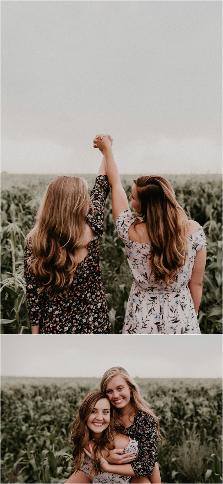 Boise Senior Photographer Idaho Summer Senior Pics Cornfield Linder Farms Floral Dress Flowers Sisters Love Family Pictures Teenagers Posing Ideas and Inspiration Makayla Madden Photography