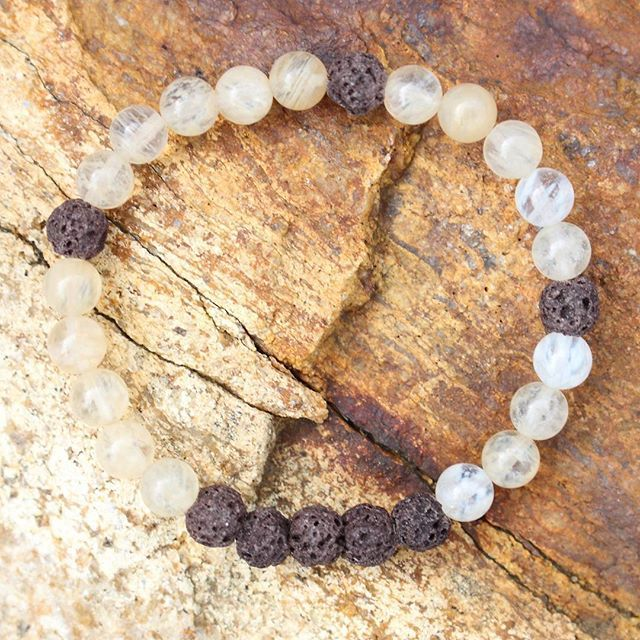 💛💛💛 Follow your bliss 💛💛💛 Create a life that feels good on the inside and radiates pure joy on the outside.  Our new Bliss Bracelet from the ESSENCE COLLECTION is designed to uplift your spirits 🤗. The colours and energy of Quartz Rutile is known to bring in happiness and joy. The lava stone absorbs built up negative energy and lets it go.