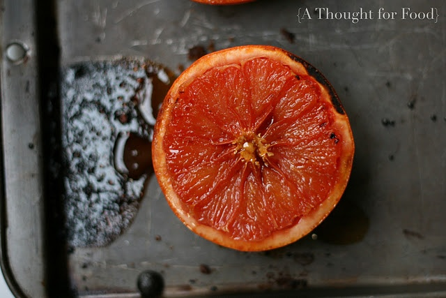 Broiled grapefruit with brown sugar and ginger. I liked this, but I ...