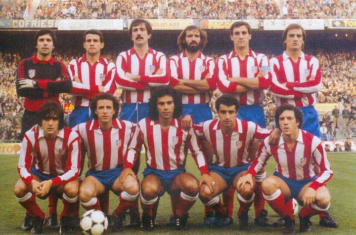 Atlético Madrid, 1981/1982 season. Back row : Aguinaga, Julio Alberto, Arteche, Juanjo, Ruiz and Balbino | front row : Marcos, Dirceu, Hugo Sánchez (Atlético Madrid, 1981–1985, 111 apps, 54 goals), Quique Ramos and Marián.
