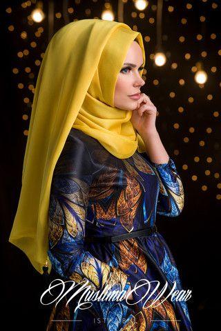 Chiffon Scarf hijab Candy Yellow Color with decorative silk tassel. | US Muslima Wear