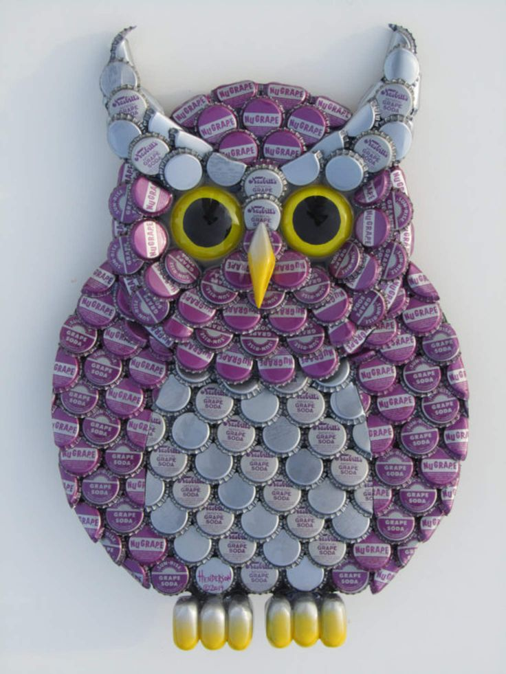 Owl art metal bottle cap purple owl wall art with grape for What can i make with bottle caps