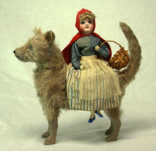 Antique German Bisque Head Red Riding Hood on Wolf Candy Container-c1910 (Ebay/sold for $1500)