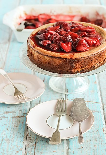 Roasted Strawberry & Ginger Ricotta Cheesecake.