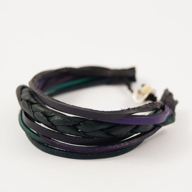 Dark Shades Multi Strand Leather Bracelet, Black Shades Braided Multi Strand Leather Cuff, Multi Strand Leather Bangle, Black, Green, Purple by AnatolianBliss on Etsy