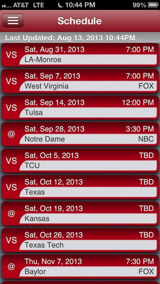 ou football schedule 2014 - Google Search