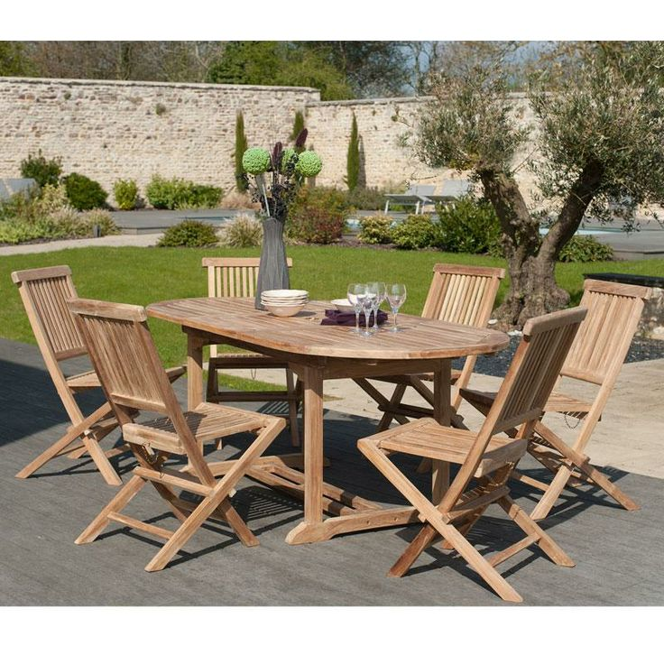 Salon de jardin en teck SUMBARA 2 - 1 table ovale extensible et 6 chaises - Maison Facile : www.maison-facile.com