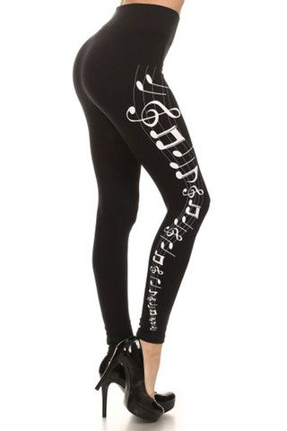 Musical Notes Graphic Print Lined Leggings – Niobe Clothing