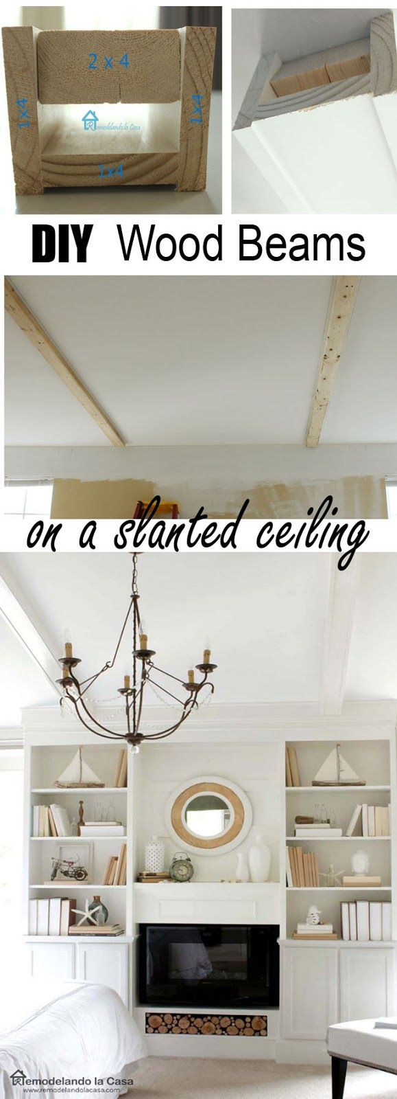 How to make and Install Faux Wooden Beams on a slanted ceiling