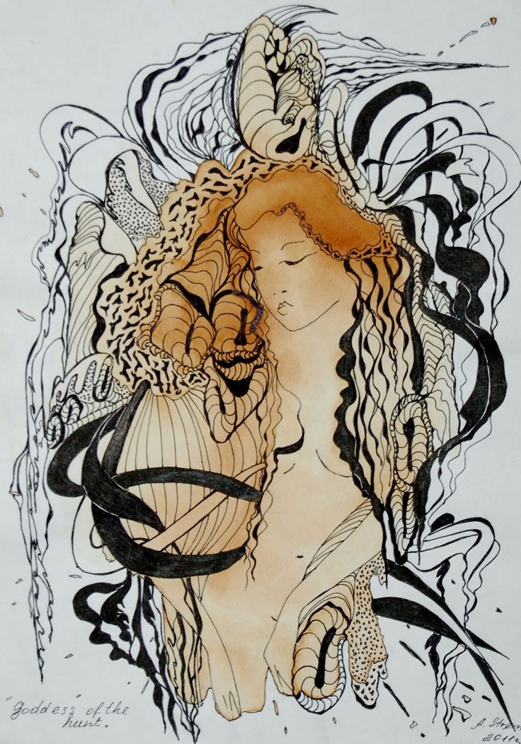 ,,Goddess of the hunt ,, graphic art by Anna Strøm http://www.design-of-norway.no/ www.snillpike.no