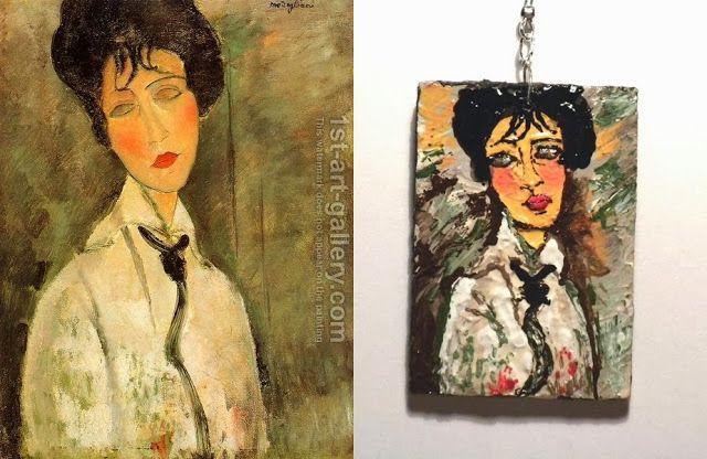 Black Rose's Handmade Things, Modigliani, #handmade, #painted, #earrings, #jewelry