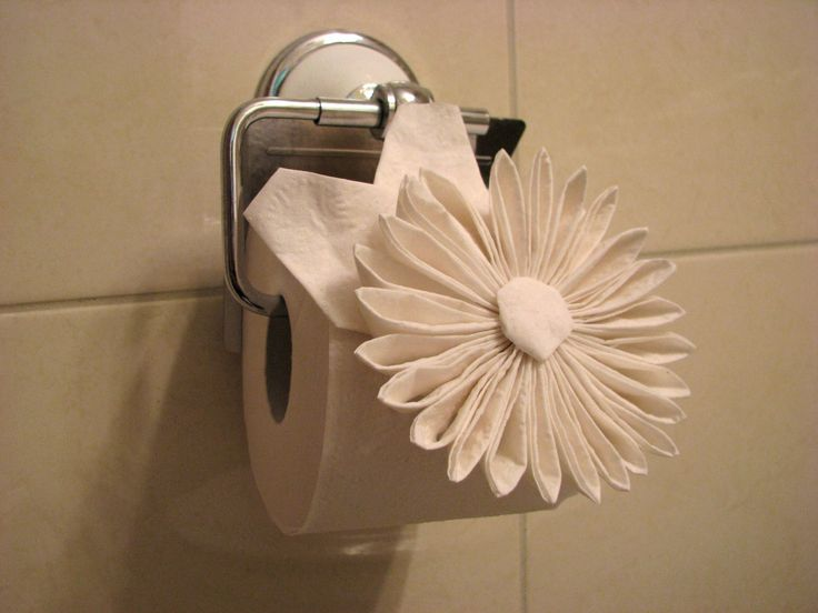 Origami toilet paper flower - still attached!!! Wonder how long it took to make!