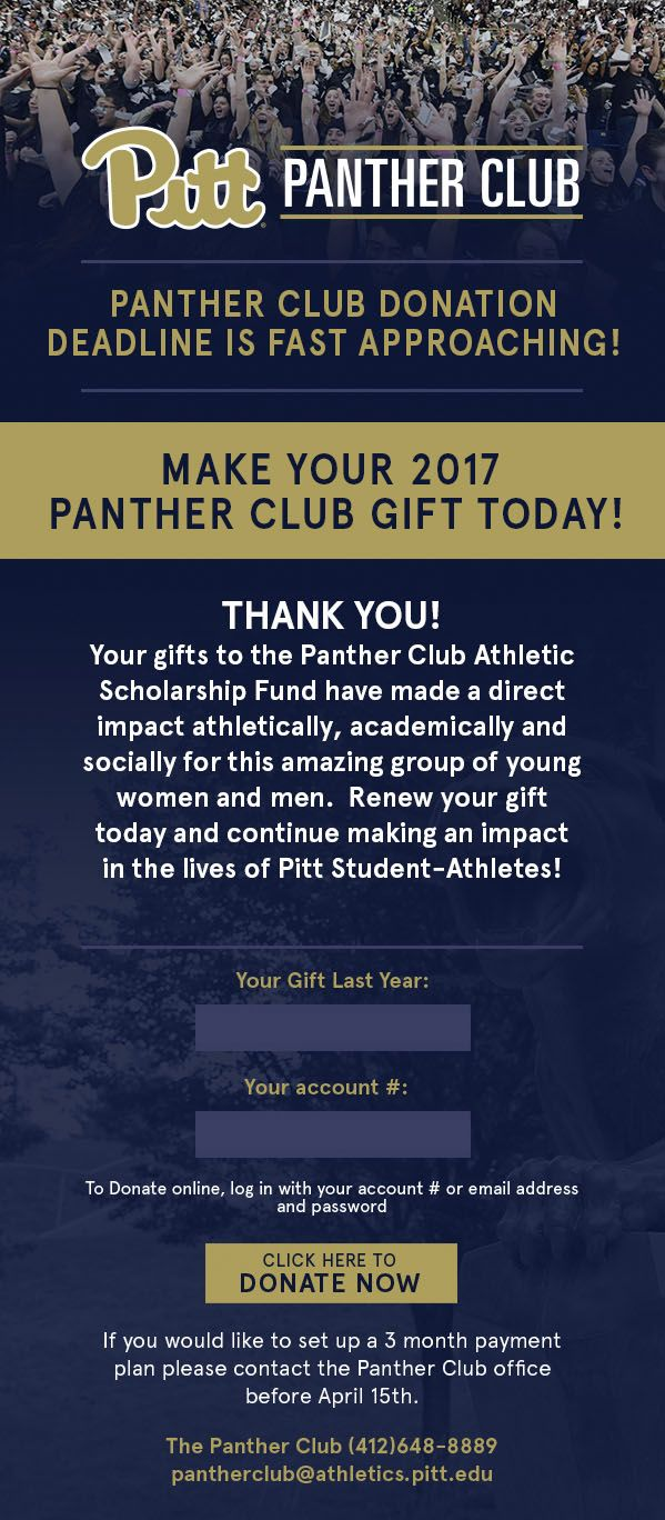 Pitt Panther Club designed by Pitt Athletics