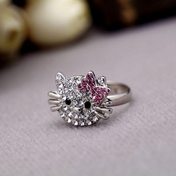Cute Cat Design Rings Fashion Jewelry Girl Lovely Cute Cat Rhinestone Finger Ring Hello Kitty Jewelry Gift - gemdivine