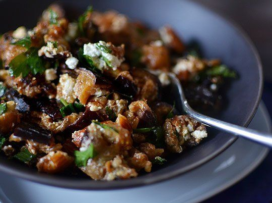 Recipe: Roasted Eggplant Salad with Smoked Almonds & Goat Cheese