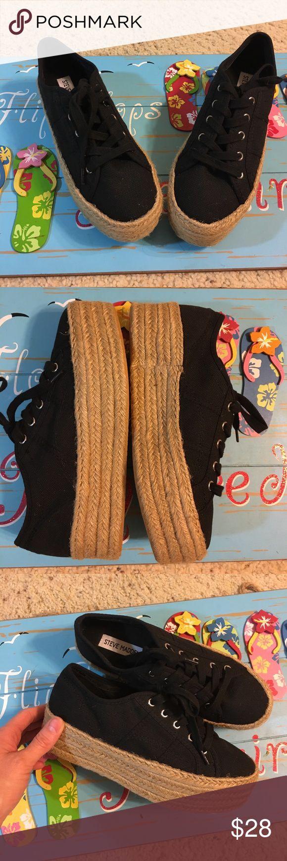 NWOT Steve Madden platform shoes Super cute Black and Tan rope platform shoes by Steve Madison never worn perfect for anytime size 6.5 Steve Madden Shoes Wedges