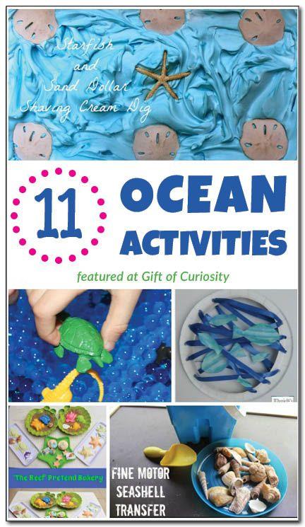 11 ocean activities, including ocean sensory play, ocean crafts, ocean pretend play, ocean fine motor play, ocean printables, and ocean book...