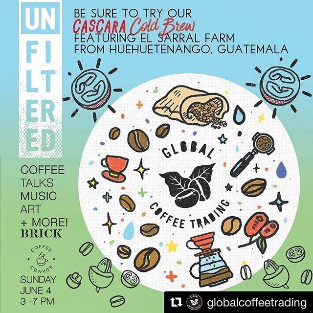 Just a reminder! This Sunday, free event at @brick.sd! Come by and say hi, my dears! And try our delicious cascara cold brewed tea - it's a whole other world of coffee flavor using a different part of the bean - you'll be surprised by how refreshing it tastes! 😘☕️ #Repost @globalcoffeetrading (@get_repost) ・・・ @coffeeandconvos is collaborating with @brick.sd to bring you Unfiltered on Sunday, June 4th from 3 to 7 PM. Our very own Pablo Lara and Marcel Reyes have also jumped on board to…