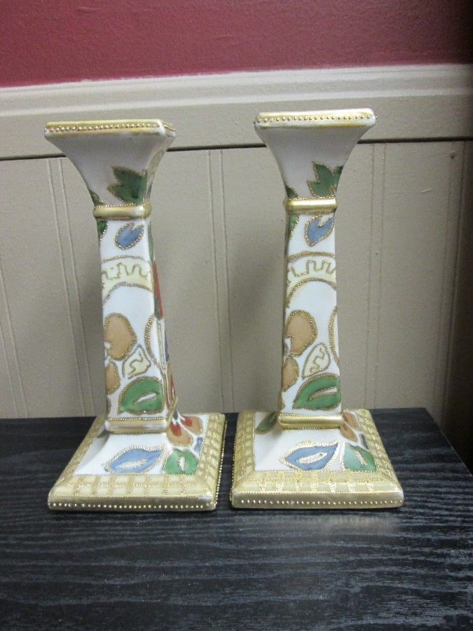 HAND PAINTED NIPPON CANDLESTICKS CANDLE HOLDERS Stylized Flower Pat Gold Beaded! #Nippon