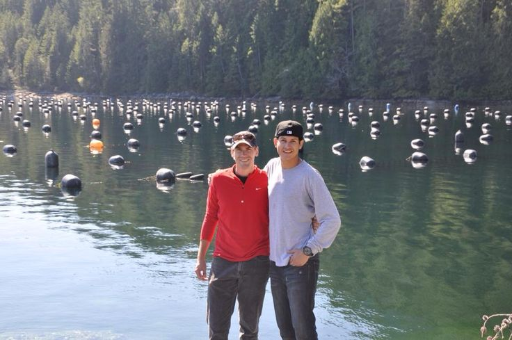 Weston Taylor & Xadier Gonzalez at our farm in Allies Bay, British Columbia